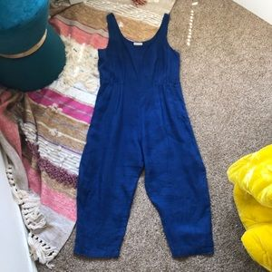 Black Crane Overall Jumpsuit Blue Linen Size Small